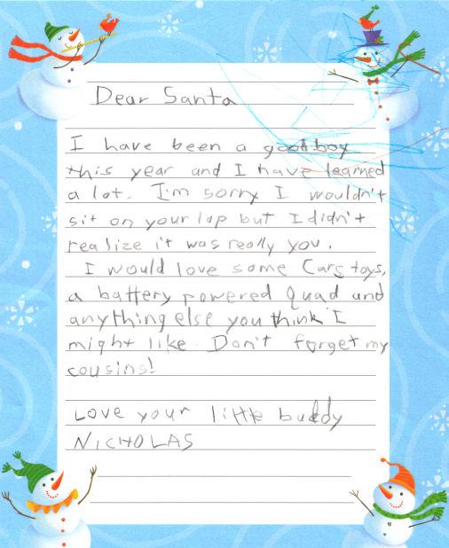 Nicholas' Letter to Santa 2007